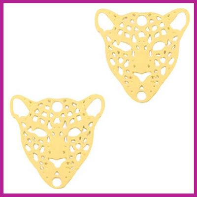 Bohemian metaal bedel / tussenstuk leopard goud