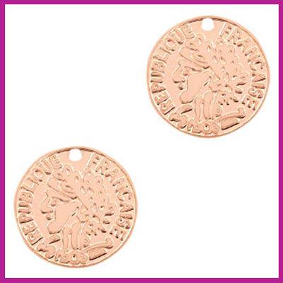 Bohemian metaal bedel muntje rosegold