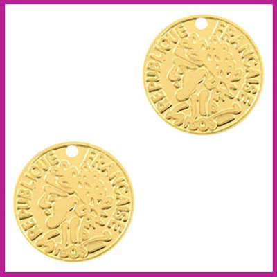 Bohemian metaal bedel muntje goud