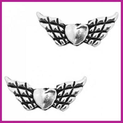 BQ metaal kraal engel vleugel hartje Antiek zilver