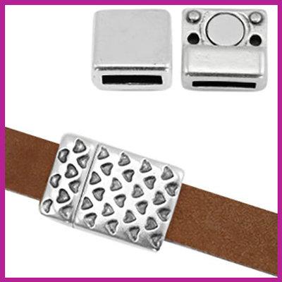 DQ metaal magneetslot voor 10mm leer hartjes print Antiek zilver