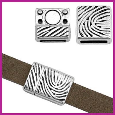 DQ metaal magneetslot voor 10mm leer fingerprint Antiek zilver