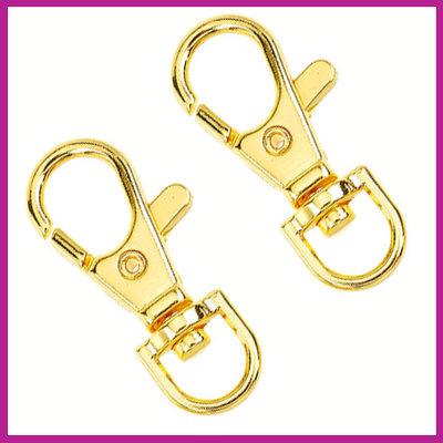 Metalen sleutelhanger medium ± 38x17mm Goud