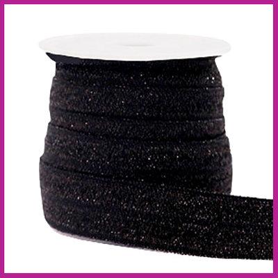 Elastisch sierlint per 25cm glitter zwart
