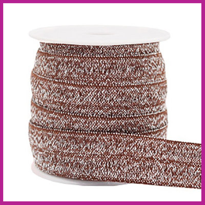 Elastisch sierlint per 25cm glitter taupe