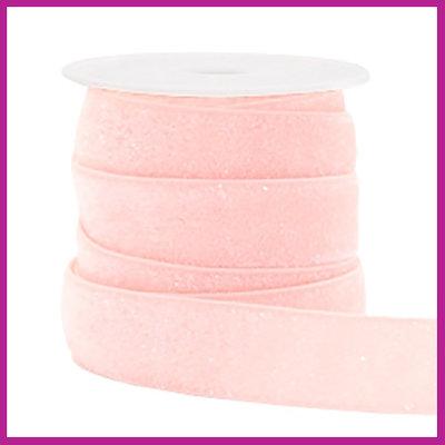 Elastisch sierlint per 25cm glitter licht roze