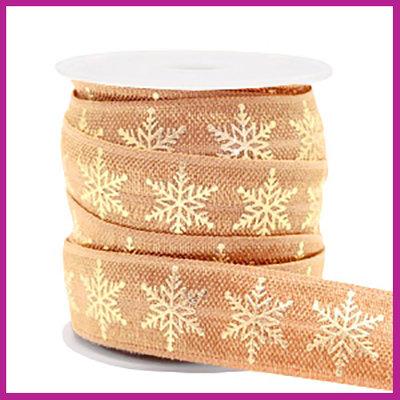 Elastisch sierlint per 25cm snowflake camel brown