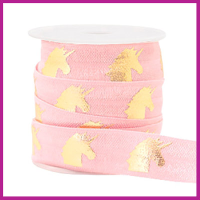 Elastisch sierlint per 25cm unicorn light pink