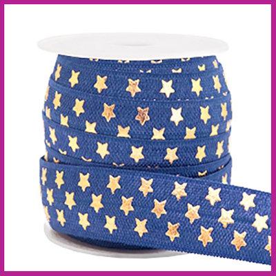 Elastisch sierlint per 25cm stars donker blauw
