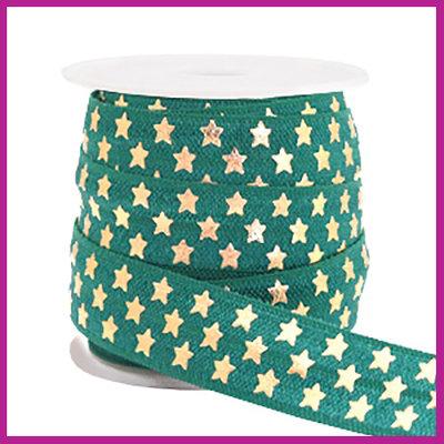 Elastisch sierlint per 25cm stars petrol green