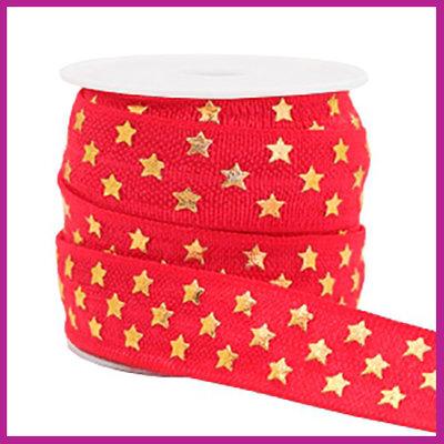 Elastisch sierlint per 25cm stars rood