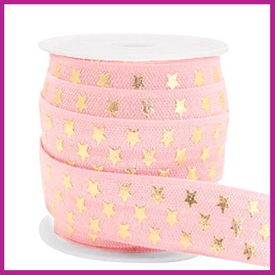 Elastisch sierlint per 25cm stars licht roze
