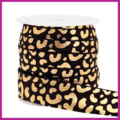 Elastisch sierlint per 25cm leopard zwart