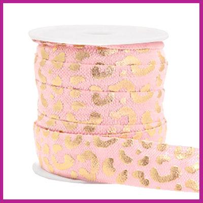 Elastisch sierlint per 25cm leopard licht roze