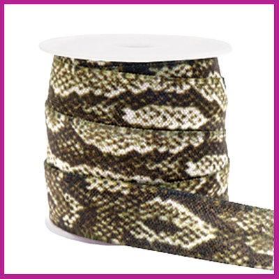 Elastisch sierlint per 25cm snake camel brown