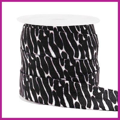 Elastisch sierlint per 25cm zebra zwart wit