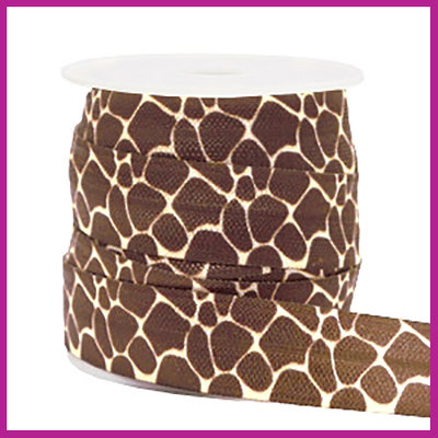 Elastisch sierlint per 25cm giraffe bruin