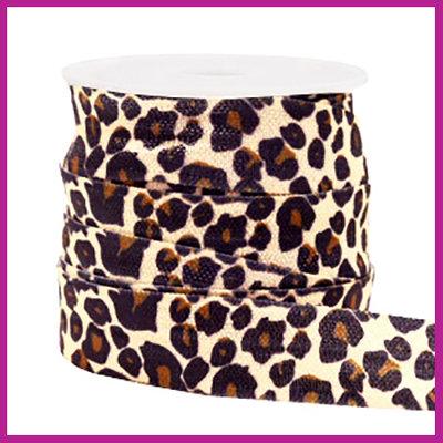 Elastisch sierlint per 25cm leopard peach beige