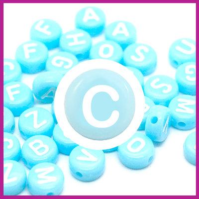 Letterkraal acryl blauw/wit rond 7 mm C
