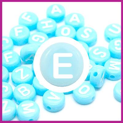 Letterkraal acryl blauw/wit rond 7 mm E