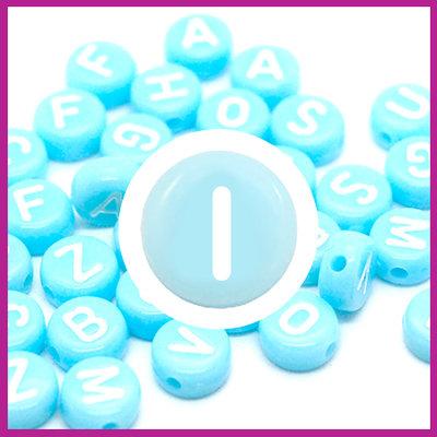 Letterkraal acryl blauw/wit rond 7 mm I