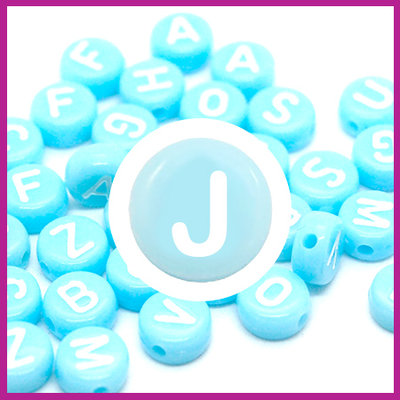 Letterkraal acryl blauw/wit rond 7 mm J