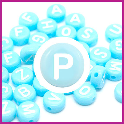 Letterkraal acryl blauw/wit rond 7 mm P