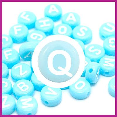 Letterkraal acryl blauw/wit rond 7 mm Q