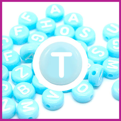 Letterkraal acryl blauw/wit rond 7 mm T