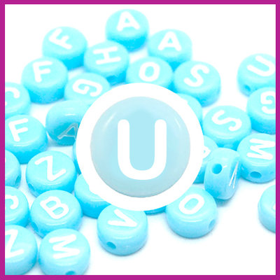 Letterkraal acryl blauw/wit rond 7 mm U