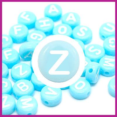 Letterkraal acryl blauw/wit rond 7 mm Z