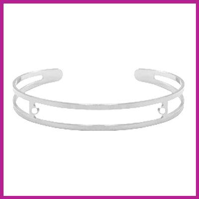 DQ metaal basis armband met twee oogjes Antiek zilver