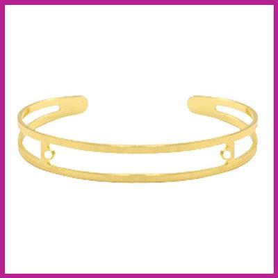 DQ metaal basis armband met twee oogjes Goud