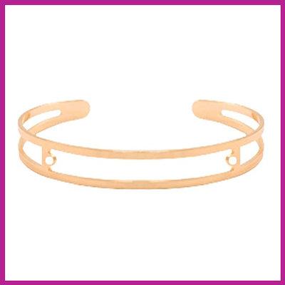 DQ metaal basis armband met twee oogjes Rosegold