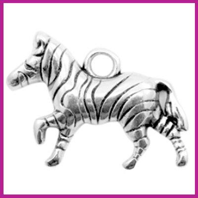DQ metaal bedel zebra antiek zilver