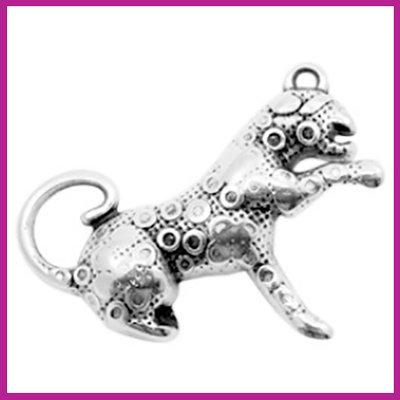 DQ metaal bedel luipaard antiek zilver