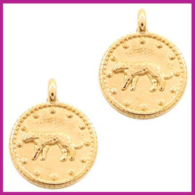 DQ metaal bedel luipaard rond goud