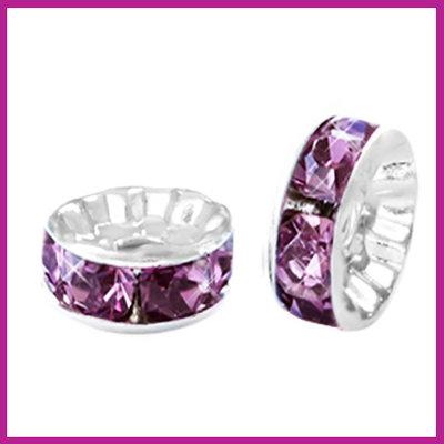 Strass kraal rondel Ø6mm zilver - light aubergine purple