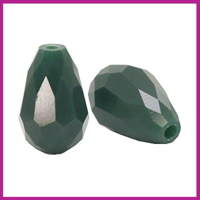 Glaskraal facet druppel 10x15mm dark petrol green