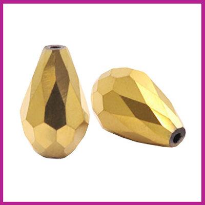 Glaskraal facet druppel 10x15mm gold