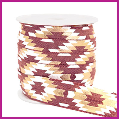 Elastisch sierlint per 25cm aztec Mauve taupe