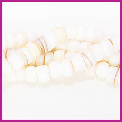 Schelp kraal disc beige / ivoor ca. 4 - 6 mm