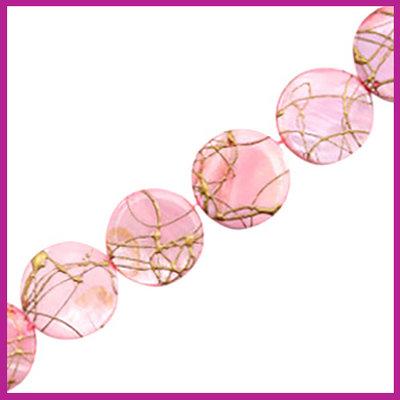 Schelp kraal plat rond Ø20mm Gold line light pink