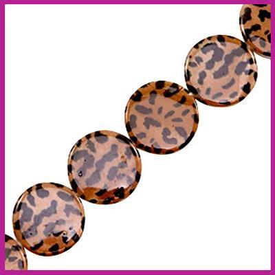 Schelp kraal plat rond Ø20mm Panter print brown