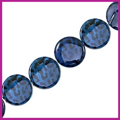 Schelp kraal plat rond Ø20mm Panter print dark blue