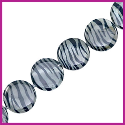 Schelp kraal plat rond Ø20mm Zebra print grey