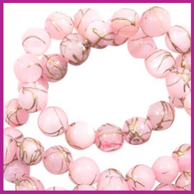Schelp kraal rond Ø6 mm Gold line light pink