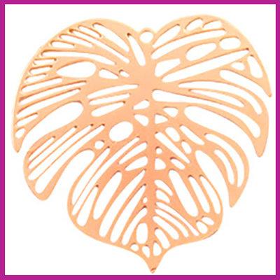 Bohemian metaal bedel groot blad rosegold