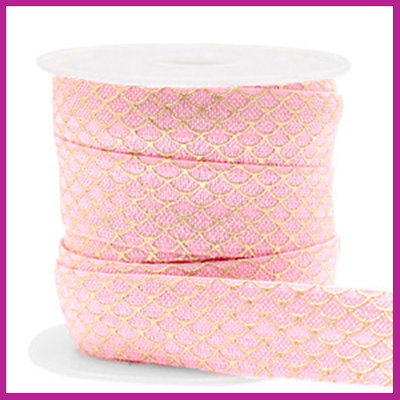 Elastisch sierlint per 25cm mermaid vintage pink gold