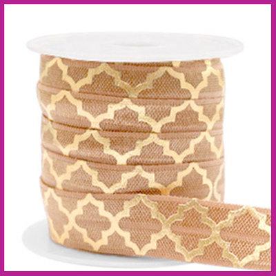 Elastisch sierlint per 25cm Maroccan pattern camel brown gold